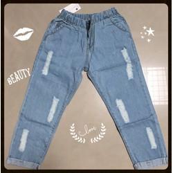 quần baggy jean nữ lưng thun lửng