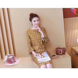 Đầm suông vải caro