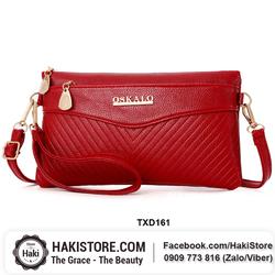 Túi đeo chéo kim ví cầm tay nhỏ gọn đính logo tiện lợi màu đỏ