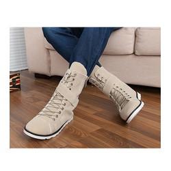 giày boot nam dây kéo cá tính Mã: GH0143 - KEM