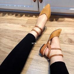 Giày sandal gót nhỏ 2 quai choàng | giày sandal nữ đế bệt