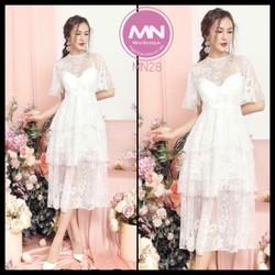 Đầm ren tầng trắng thiết kế siêu xinh