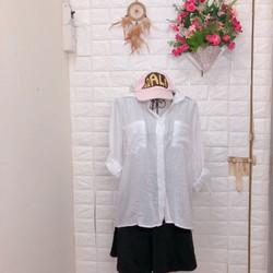 Thanh lí áo sơ mi trắng xô 2 túi Korea
