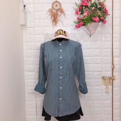 Thanh lí áo sơ mi cổ trụ sọc xuôi Korea Big size