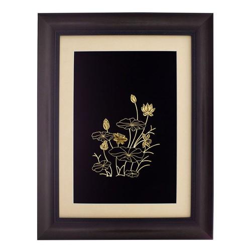 Tranh hoa sen ma dát vàng 24K treo tường