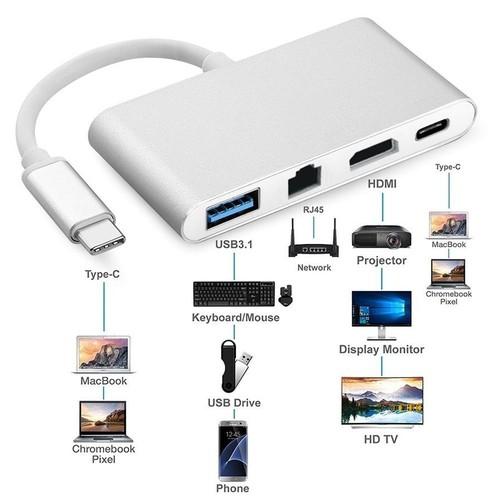 Cáp Type USB 3.1-C to HDMI + RJ45+ USB+PD