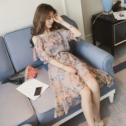 Đầm dây voan hoa style Nanda D010