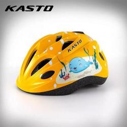 Nón bảo hiểm thể thao trẻ em Kasto hình cá _ màu vàng