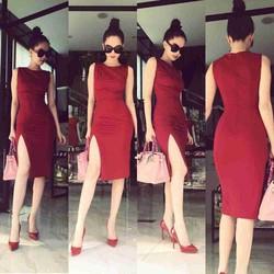 Đầm ôm body xẻ đùi thiết kế đơn giản