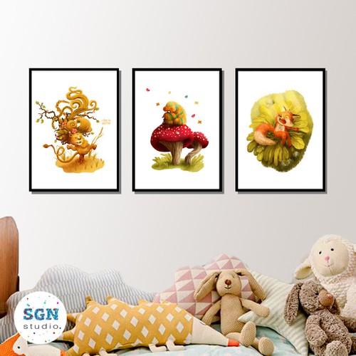 Bộ 3 tranh canvas hoạt hình ngộ nghĩnh trang trí nội thất
