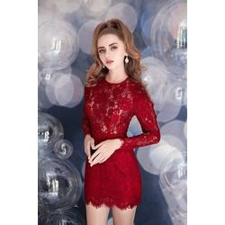 Đầm ren đỏ tay dài thiết kế váy ngắn ôm body