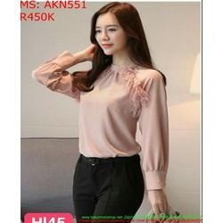 Áo kiểu nữ dài tay màu hồng dễ thương cho nàng AKN551