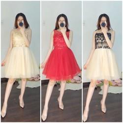 Đầm xòe ren công chúa cao cấp 5 màu da, hồng, đỏ, đen trắng