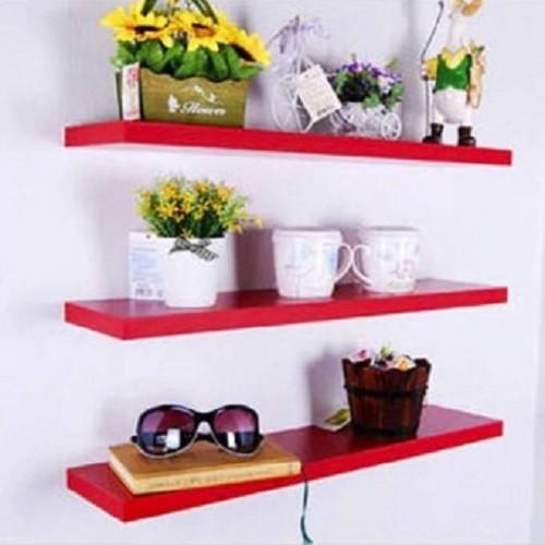 Kệ treo tường 3 thanh ngang đỏ dài 60cm x sâu 13cm