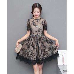 - Đầm xoè ren lót thun