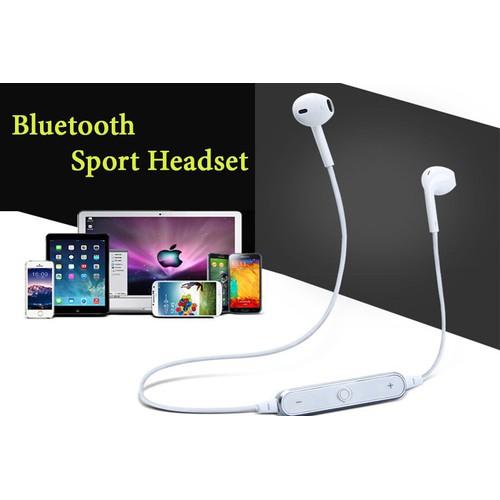 Tai nghe bluetooth sports headset s6 siêu bass không dây giá rẻ trắng
