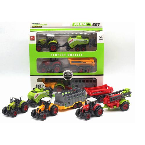 Xe nông trại đồ chơi cho trẻ em bộ sản phẩm gồm 2 đầu kéo và 4 thùng sau