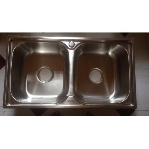 Chậu rửa chén - chậu rửa bát inox 304: 78x43 cm - tặng rồ đa năng