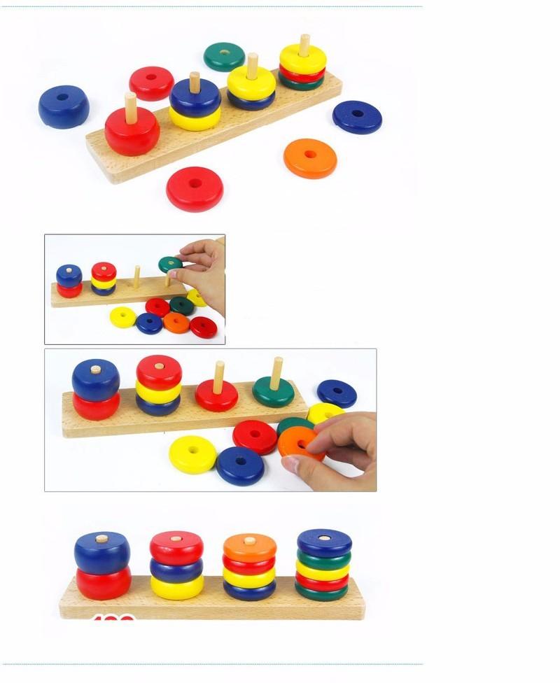 Bộ xếp 8 bảng gỗ hình học cho bé nhận biết theo phương pháp Montessori