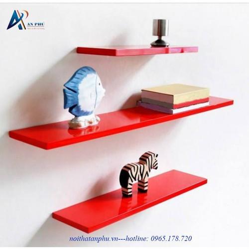 Kệ treo tường 3 thanh ngang đỏ dài 40,50 60cm sâu 13cm