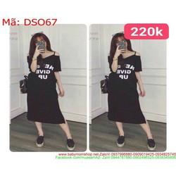 Đầm thun phom dài 2 dây in chữ sành điệu thời trang DSO67