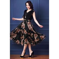 Đầm Xòe chân váy hoa