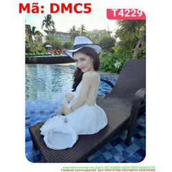 Đầm maxi nữ đi biển cổ V hở lưng sau màu trắng xinh xắn DMC5