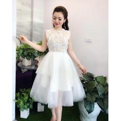 Đầm xoè ren công chúa phối tùng