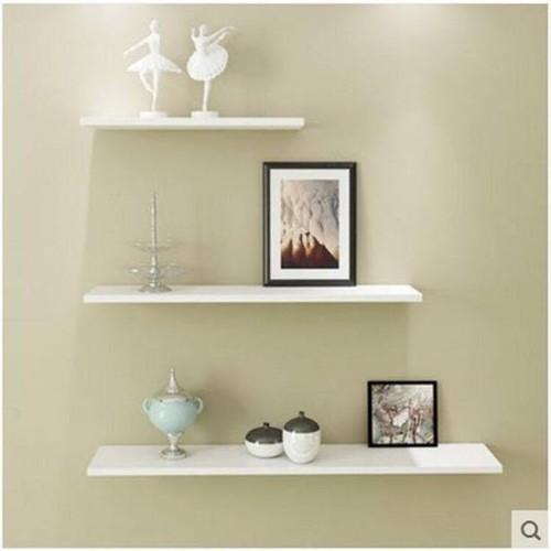 Kệ treo tường 3 thanh ngang lệch trắng dài 40,50,60xsau 13cm