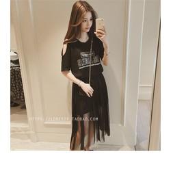 Set đầm cotton rớt vai kèm chân váy lưới SET005D