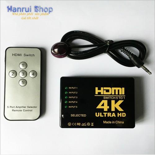 Worldmart bộ chia cổng hdmi 5 ra 1 hỗ trợ 4k ultrahd có remote