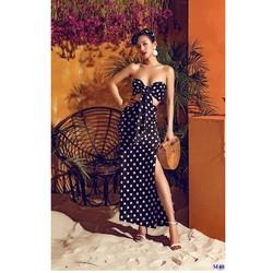 Đầm Maxi Chấm Bi Cúp Ngực Phối Nơ Ngực Sexy