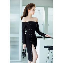 Đầm ôm body Ngọc Trinh thiết kế vai ngang xẻ đùi gợi cảm