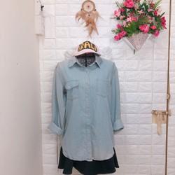 Thanh lí áo sơ mi denim Korea 2 túi style