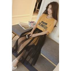 Set đầm cotton rớt vai kèm chân váy lưới SET005V