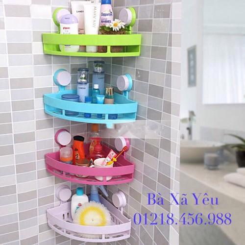 Combo 4 Kệ Góc Hít Tường Nhà Tắm Phòng Bếp Tiện Ích