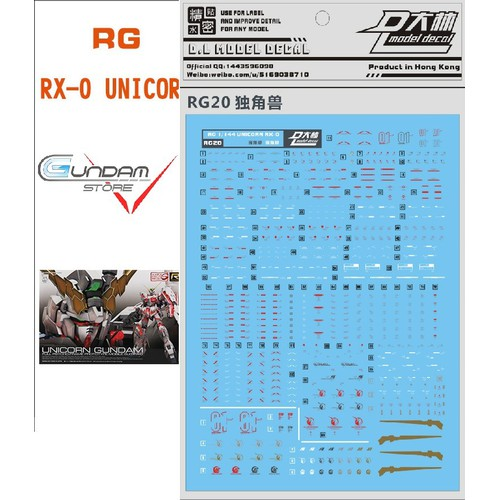 BỘ DECAL MÔ HÌNH GUNDAM WATER DECAL 1:144 RG UNICORN