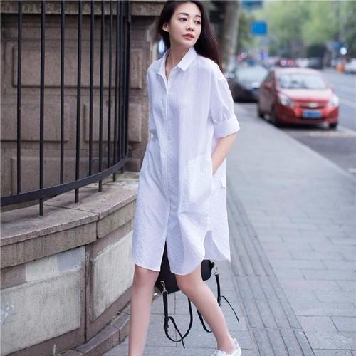 Đầm suông trắng thanh lịch đơn giản