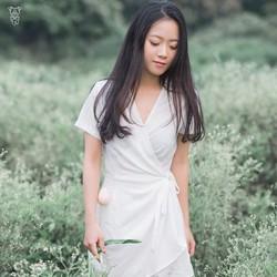 Jum sọt trắng giả váy đắp vạt chéo cao cấp