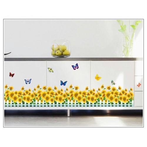 Decal trang trí chân tường hoa hướng dương