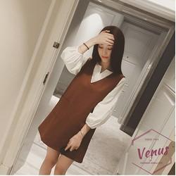 Set áo váy thời trang chữ V phong cách Hàn xinh xắn DA-001