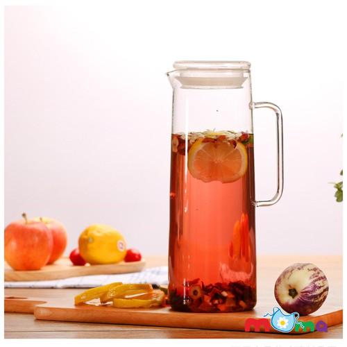 Bình, chai, lọ thủy tinh có nắp gỗ đẹp đựng trà, nước ,  1500ml_