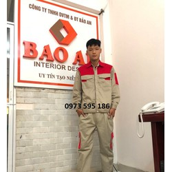 Quần áo bảo hộ lao động ghi pha đỏ