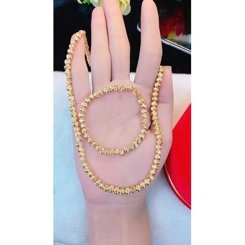 bộ dây chuyền vòng tay bi màu vàng 18k - 4145359 , 10282147 , 15_10282147 , 369000 , bo-day-chuyen-vong-tay-bi-mau-vang-18k-15_10282147 , sendo.vn , bộ dây chuyền vòng tay bi màu vàng 18k