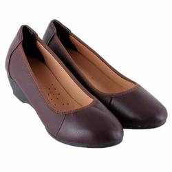 Giày nữ  da bò 3 phân màu nâu đất SH7940