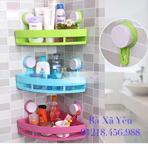 Combo 3 Kệ Góc Hít Tường Nhà Tắm Phòng Bếp Tiện Ích