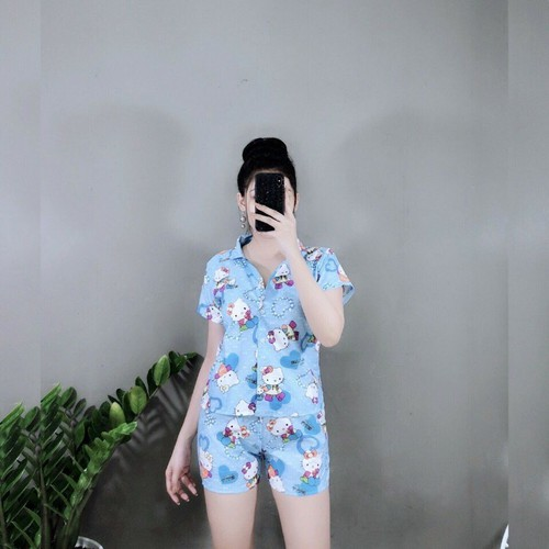 Pijama Thái Mềm Mịn Cao Cấp kitty xanh xinh iu