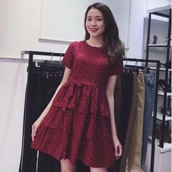 Đầm xoè tầng chấm bi cột nơ