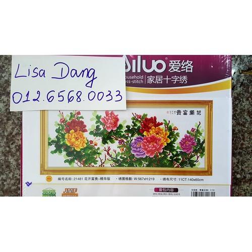 Tranh thêu HOA MẪU ĐƠN 140x60cm