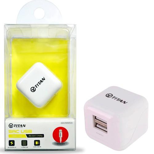 BỘ CỐC CÁP SẠC NHANH IPHONE 2 CỔNG USB TITAN SC02